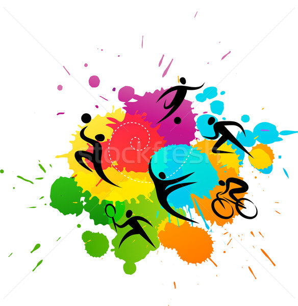 Sport kleurrijk abstract vector ontwerp print Stockfoto © marish