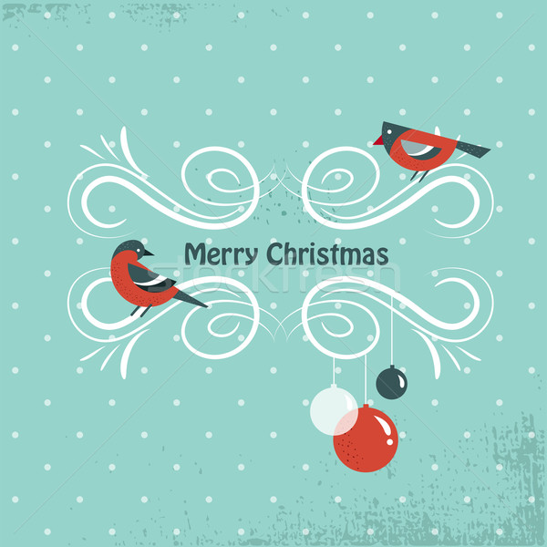 Christmas background with birds and holly leafs Stock photo © marish