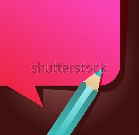 Stockfoto: Terug · naar · school · tekstballon · potlood · icon · frame · vector