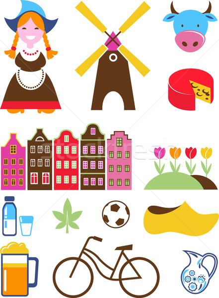 Collectie vector Nederland iconen ingesteld bloemen Stockfoto © marish
