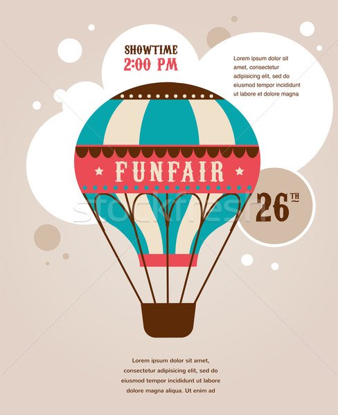 vintage poster with vintage air balloon, fun fair, circus vector background  Stock photo © marish