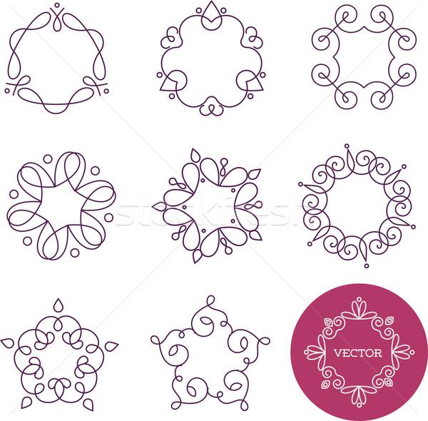 коллекция аннотация геометрический иконки Элементы кадры Сток-фото © marish