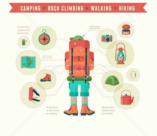 Hiking and camping equipment  - icon set and infographics Stock photo © marish