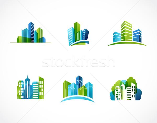 real estate, city, skyline icons and logos Stock photo © marish