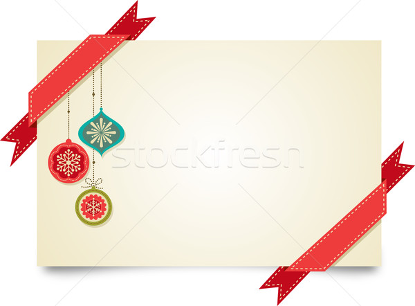 Christmas vintage greeting card with ornaments and ribbons Stock photo © marish