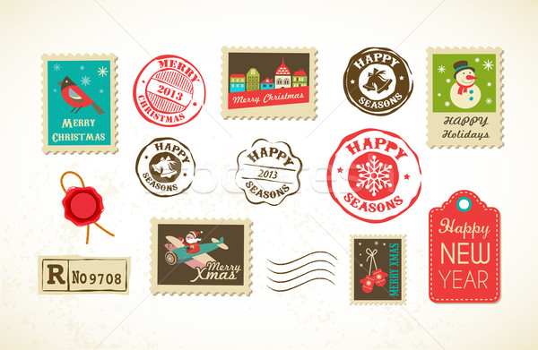 Christmas set of vintage postage stamps Stock photo © marish