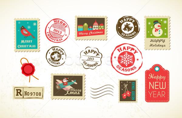 Noël vintage timbres ensemble feuille Photo stock © marish