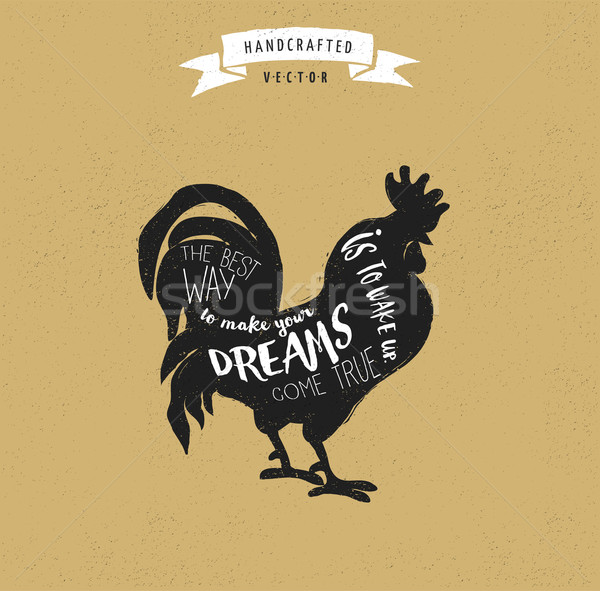 inspiration quote hipster vintage design label - rooster Stock photo © marish