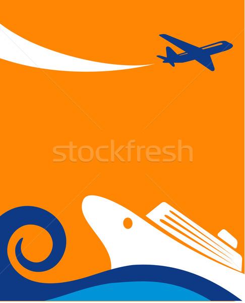Seyahat seyir uçak vektör eps 10 Stok fotoğraf © marish