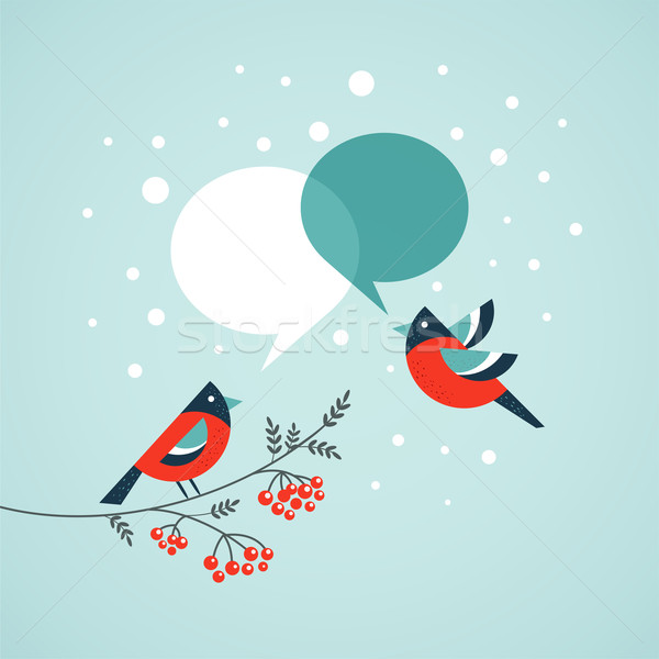 Stock photo: Christmas tree with birds and speech bubbles