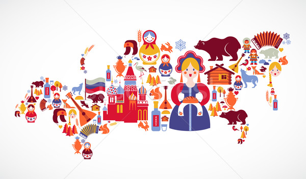 Stock photo: Russia map with vector icons