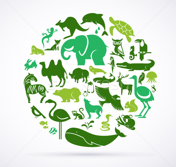 Stock photo: Animal green world - huge collection of icons