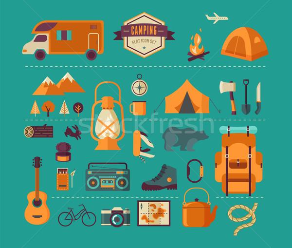 Escursioni camping infografica alpinismo Foto d'archivio © marish