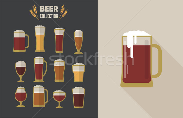 Collection of flat vector Beer glasses  Stock photo © marish