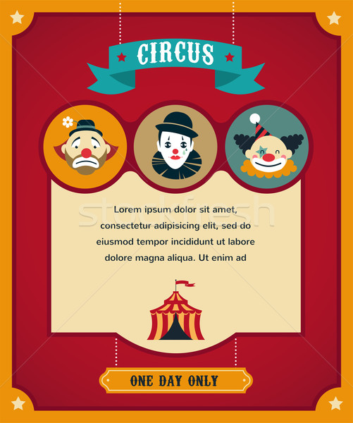 vintage circus poster, background with carnival, fun fair, and vector icons  Stock photo © marish