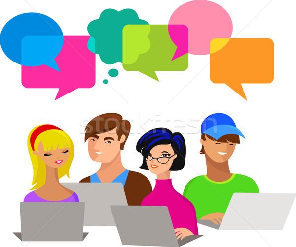 Foto d'archivio: Giovani · computer · molti · diverso · colorato