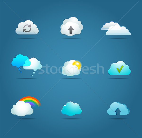 Stockfoto: Collectie · wolk · vector · iconen · overdragen · bestanden