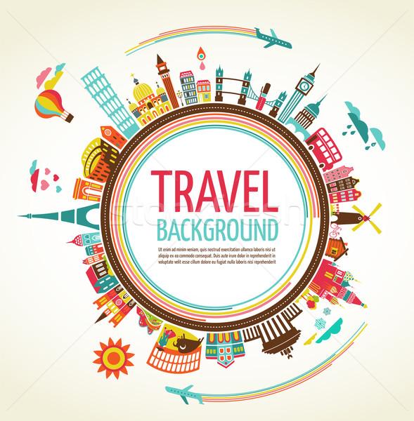 Stockfoto: Reizen · toerisme · vector · schip · vliegen · standbeeld