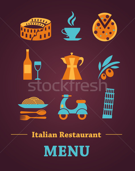 Foto d'archivio: Ristorante · italiano · menu · modello · di · progettazione · disegni · italiana · vettore