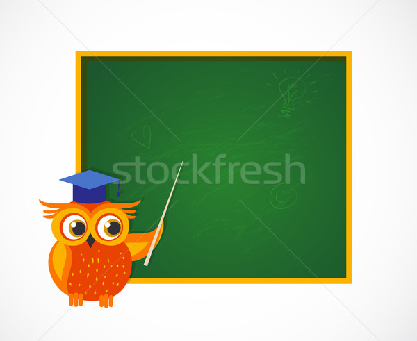 Back to School with smart owl near blackboard Stock photo © marish