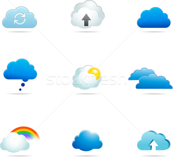 Collectie wolk vector iconen overdragen bestanden Stockfoto © marish