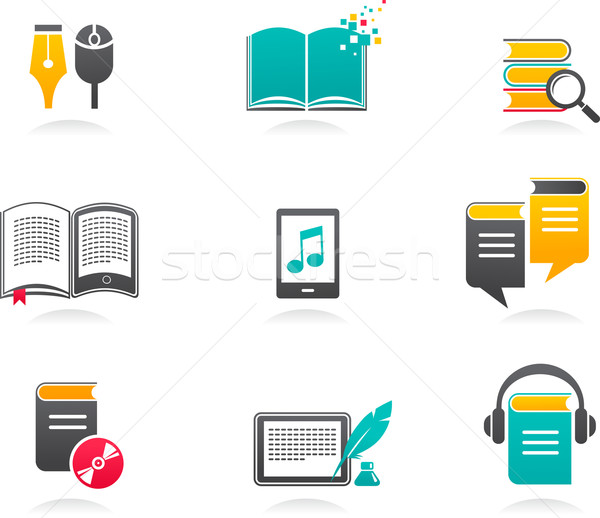 collection of E-book, audiobook and literature icons - 1 Stock photo © marish