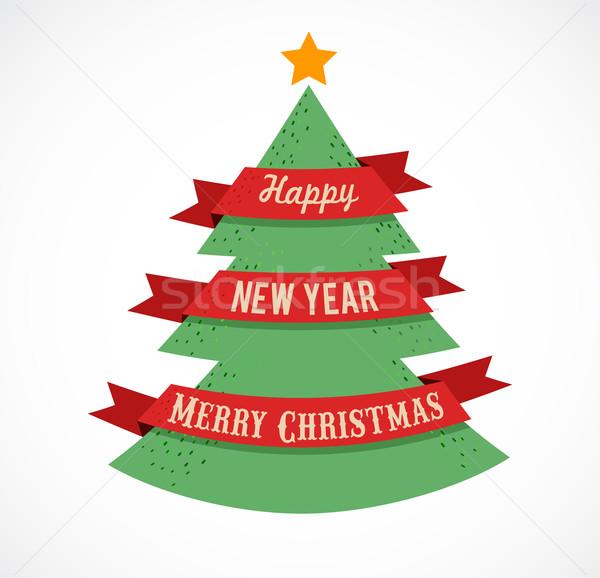 Kerstboom tekst ruimte exemplaar ruimte stad Stockfoto © marish