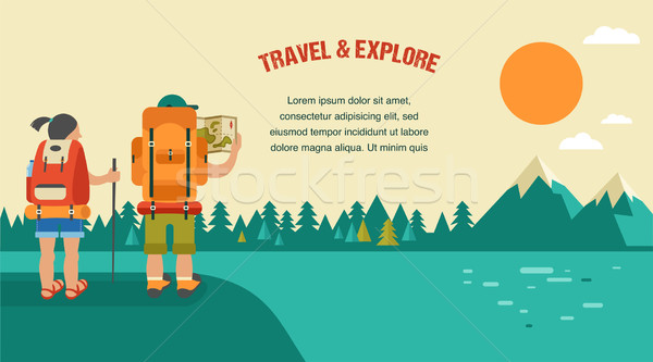 Vector vintage background with backpackers, forest, hills and mountains Stock photo © marish