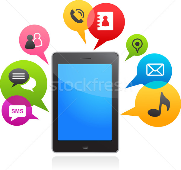 vector smart phone with speech bubbles Stock photo © marish