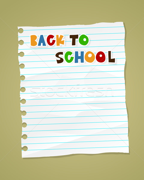 Back to school on wrinkled lined paper. Vector eps 10 Stock photo © marish