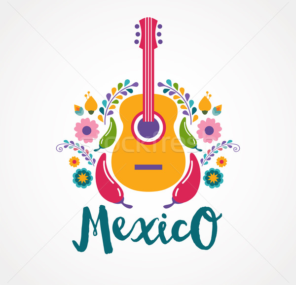 Mexico music and food elements Stock photo © marish