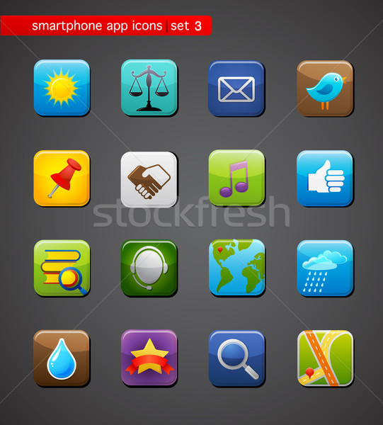 Collectie apps iconen smartphone toepassing vector Stockfoto © marish