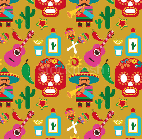 Mexico vector patroon iconen illustraties muziek Stockfoto © marish