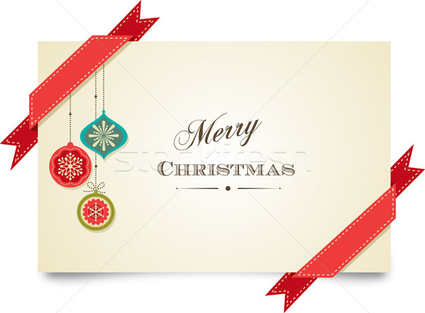 Stock photo: Christmas vintage greeting card with ornaments and ribbons
