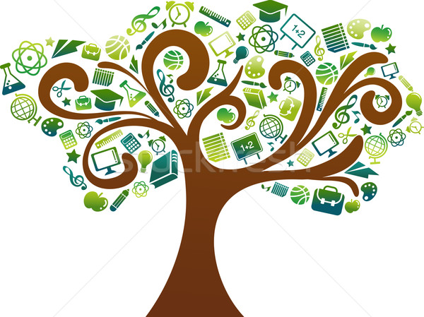 Stock photo: back to school - tree with education icons