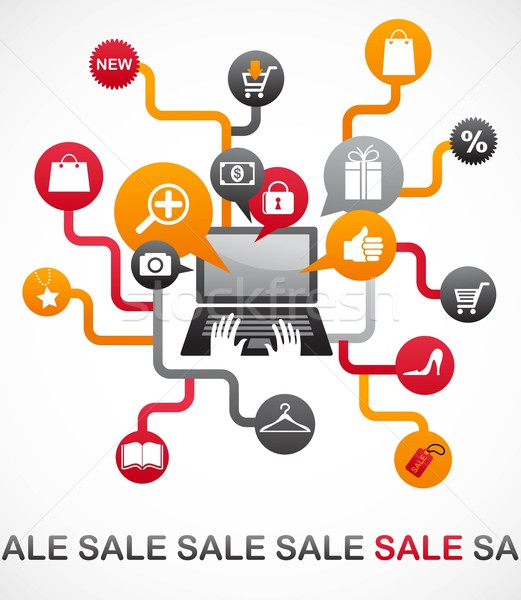 Internet shopping with set of icons Stock photo © marish