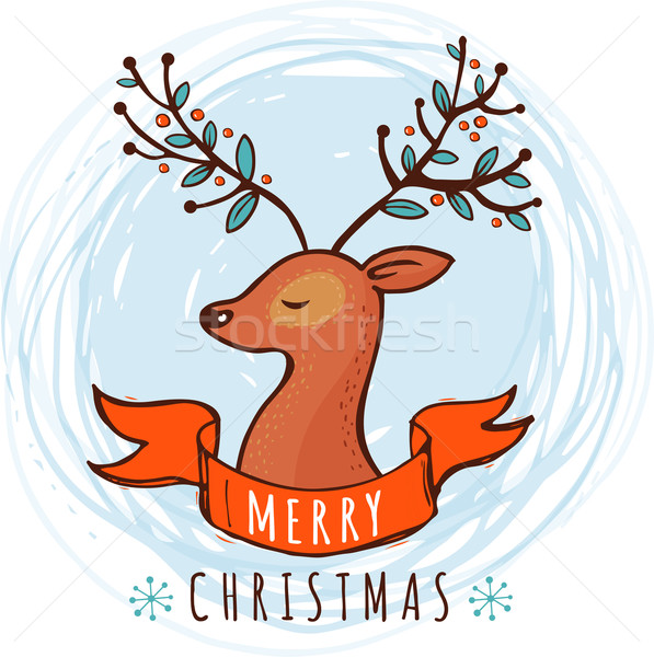 Noël carte de vœux cute cerfs illustration texture Photo stock © marish
