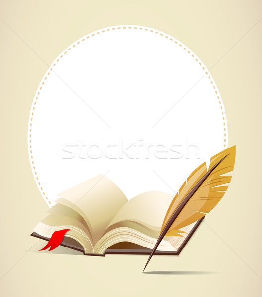 Background with old book and feather Stock photo © marish