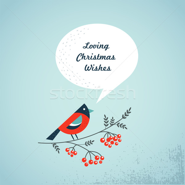 Christmas background with bird, ashberry and speech bubbles Stock photo © marish