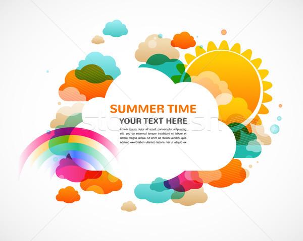 Kleurrijk wolken regenboog zon abstract vector Stockfoto © marish