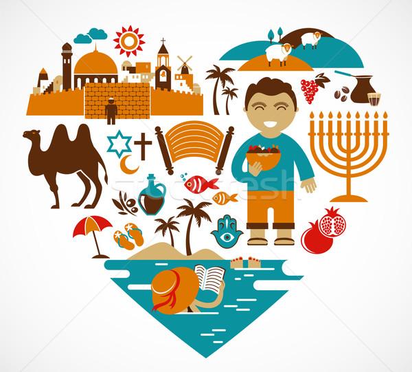 Israel - heart with set of vector illustrations Stock photo © marish
