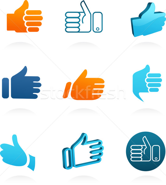 set of vector thump up and like icons Stock photo © marish