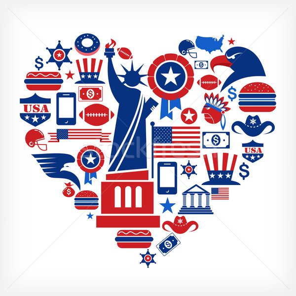 America love - heart shape with many vector icons Stock photo © marish