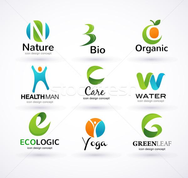 Vector green ecology alphabet Stock photo © marish