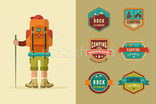 Hiking, camp badges - set of icons and elements. Vector backpacker poster Stock photo © marish