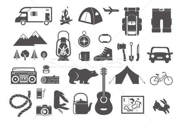 Hiking, camping - set of icons and elements Stock photo © marish