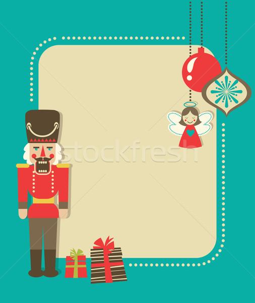 Stock fotó: Karácsony · klasszikus · üdvözlőlap · diótörő · díszek · ajándékdobozok