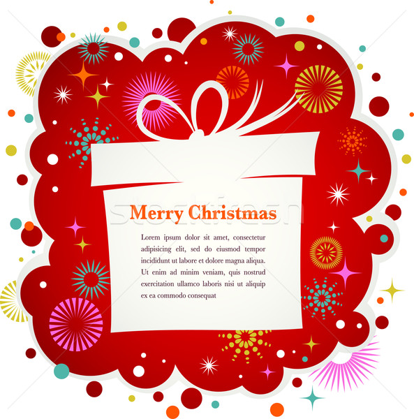 Christmas background with gift box and cute icons Stock photo © marish