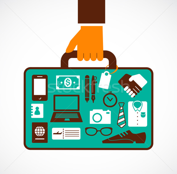 Business travel illustration - man with suitcase Stock photo © marish