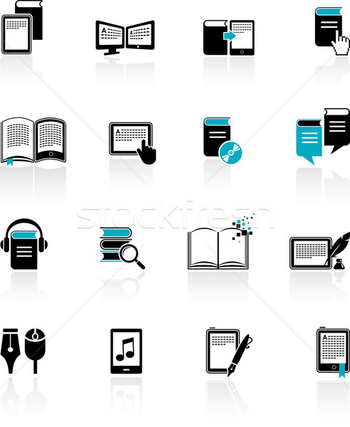 E-book, audiobook and literature icons - 2 Stock photo © marish